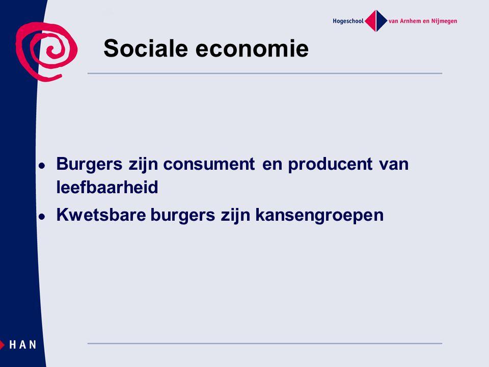 Burgers zijn consument en producent van leefbaarheid Kwetsbare burgers zijn kansengroepen Sociale economie