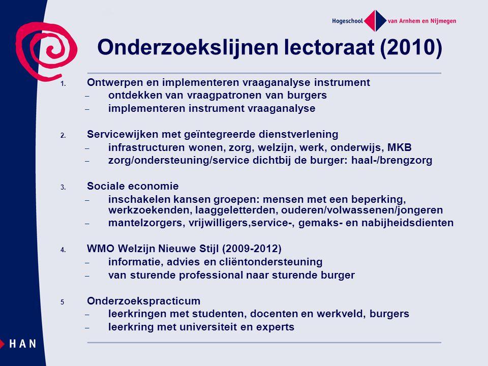 Onderzoekslijnen lectoraat (2010) 1. Ontwerpen en implementeren vraaganalyse instrument – ontdekken van vraagpatronen van burgers – implementeren inst