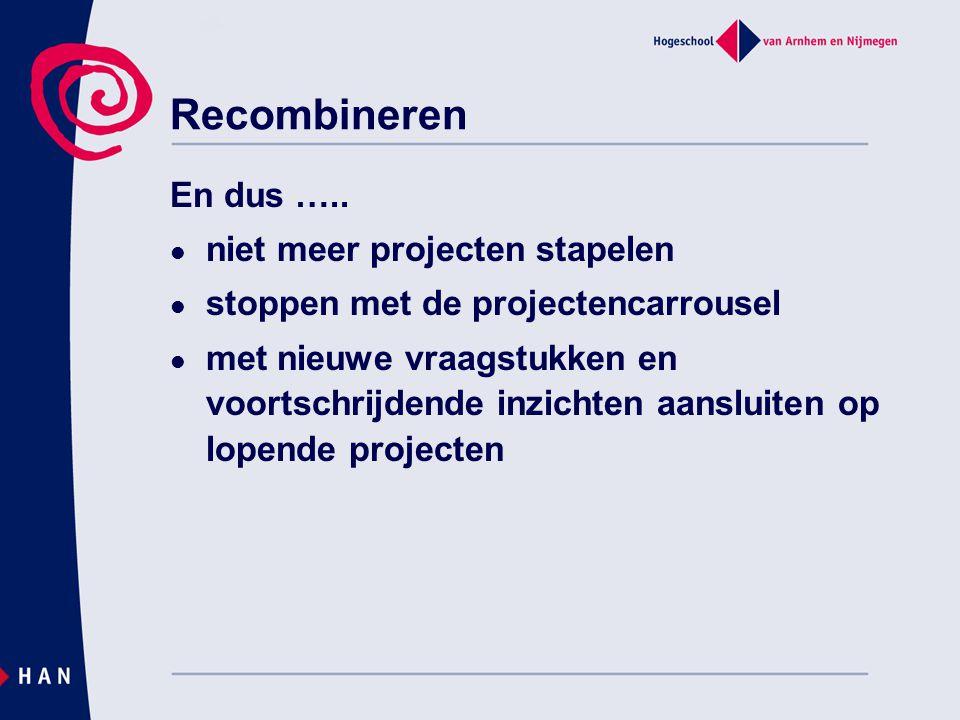 Recombineren En dus ….. niet meer projecten stapelen stoppen met de projectencarrousel met nieuwe vraagstukken en voortschrijdende inzichten aansluite