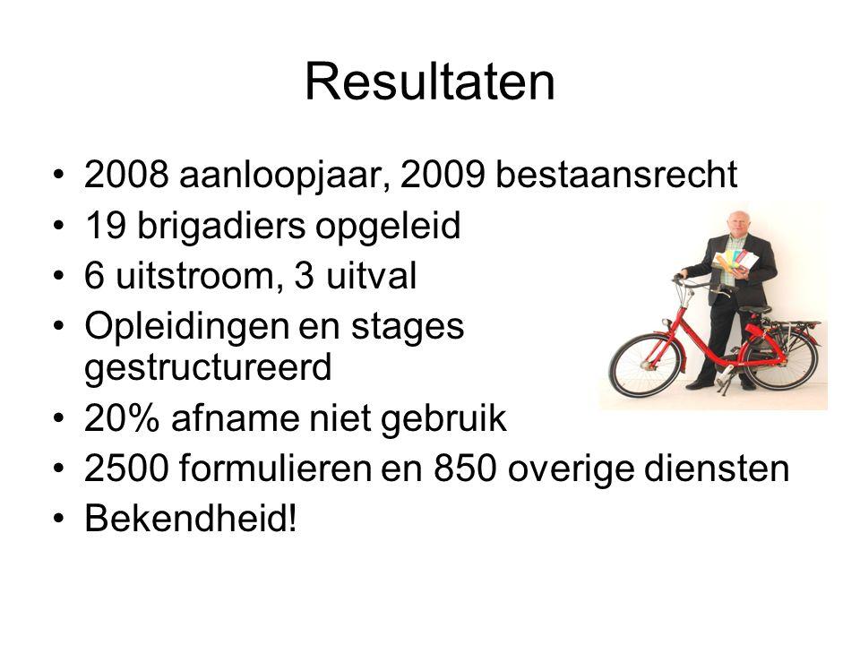 Resultaten 2008 aanloopjaar, 2009 bestaansrecht 19 brigadiers opgeleid 6 uitstroom, 3 uitval Opleidingen en stages gestructureerd 20% afname niet gebr