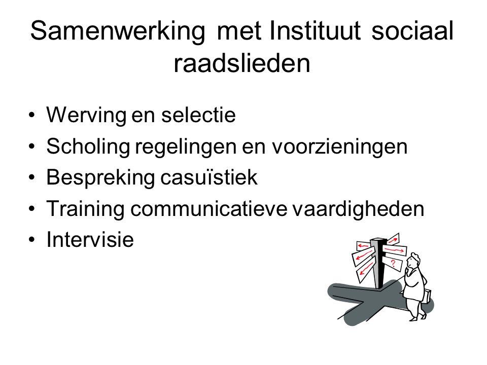 Samenwerking met Instituut sociaal raadslieden Werving en selectie Scholing regelingen en voorzieningen Bespreking casuïstiek Training communicatieve