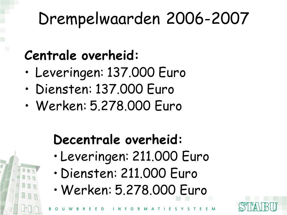 Drempelwaarden 2006-2007 Centrale overheid: Leveringen: 137.000 Euro Diensten: 137.000 Euro Werken: 5.278.000 Euro Decentrale overheid: Leveringen: 21