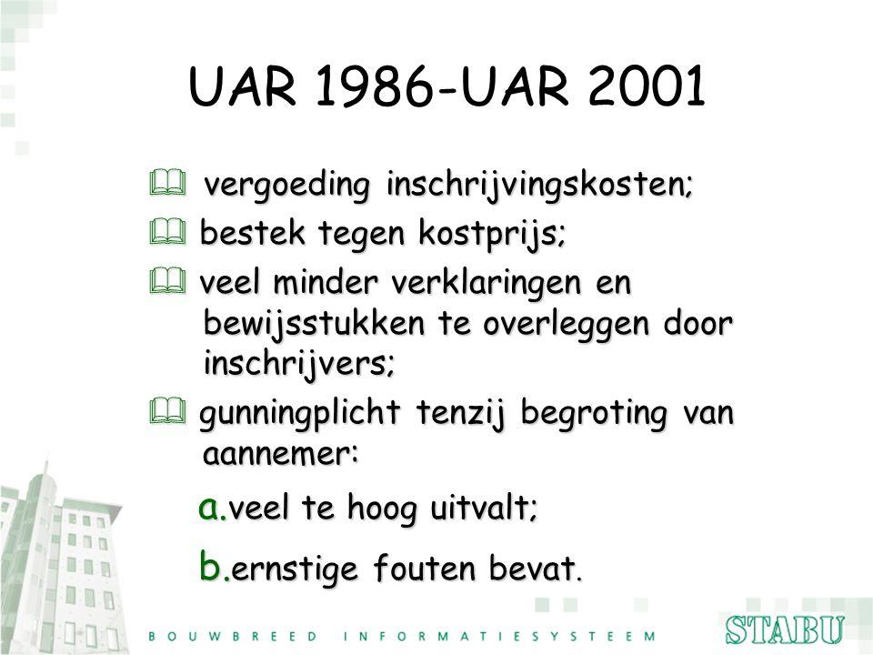 UAR 1986-UAR 2001 & vergoeding inschrijvingskosten; & bestek tegen kostprijs; & veel minder verklaringen en bewijsstukken te overleggen door inschrijv