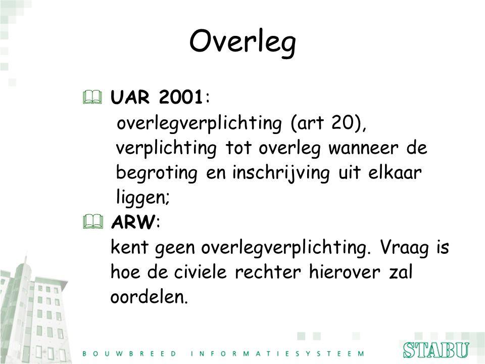Overleg & UAR 2001: overlegverplichting (art 20), verplichting tot overleg wanneer de begroting en inschrijving uit elkaar liggen; & ARW: kent geen ov