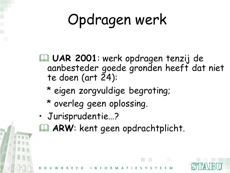 Opdragen werk & UAR 2001: werk opdragen tenzij de aanbesteder goede gronden heeft dat niet te doen (art 24): * eigen zorgvuldige begroting; * overleg