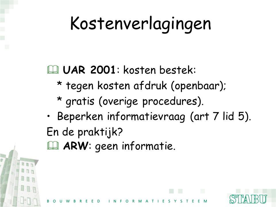 Kostenverlagingen & UAR 2001: kosten bestek: * tegen kosten afdruk (openbaar); * gratis (overige procedures). Beperken informatievraag (art 7 lid 5).