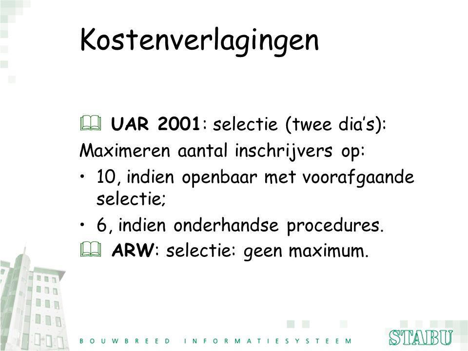 Kostenverlagingen & UAR 2001: selectie (twee dia's): Maximeren aantal inschrijvers op: 10, indien openbaar met voorafgaande selectie; 6, indien onderh