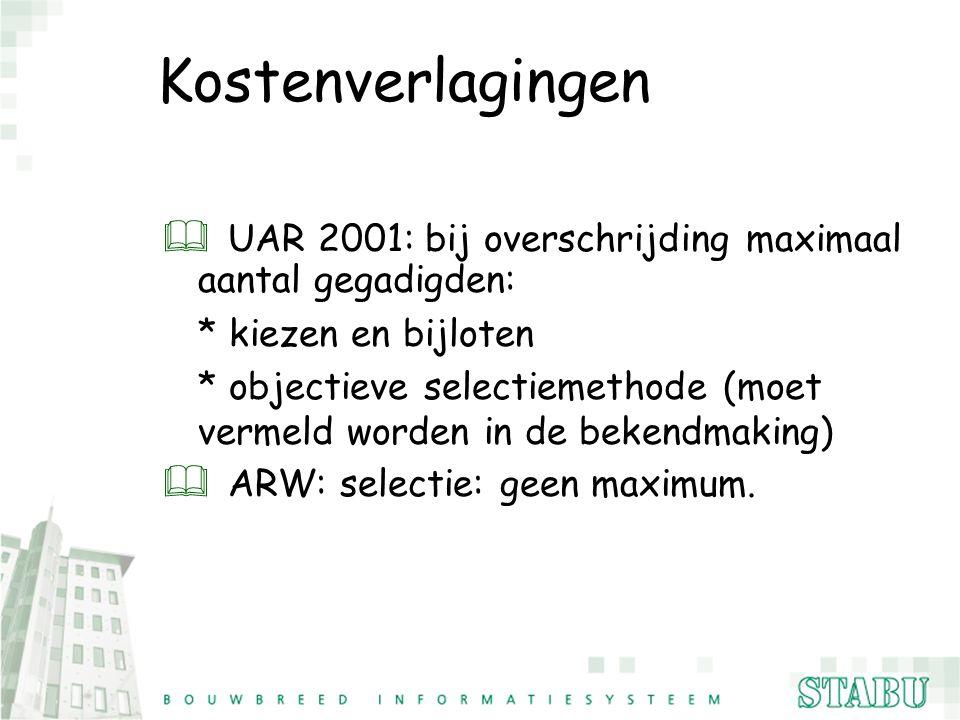Kostenverlagingen & UAR 2001: bij overschrijding maximaal aantal gegadigden: * kiezen en bijloten * objectieve selectiemethode (moet vermeld worden in