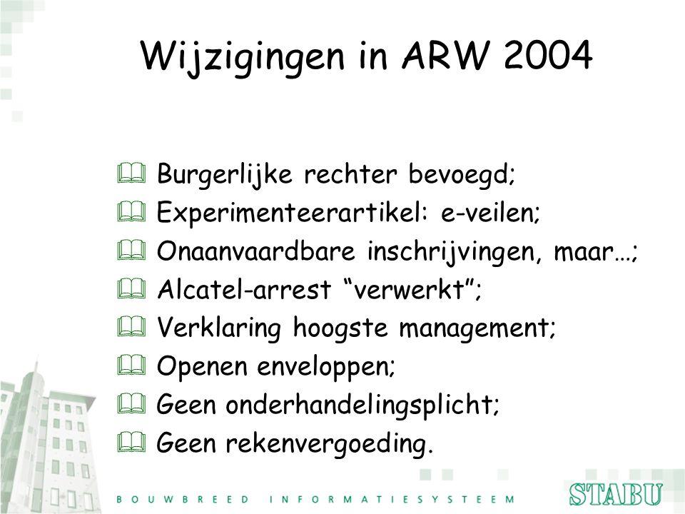 """Wijzigingen in ARW 2004 & Burgerlijke rechter bevoegd; & Experimenteerartikel: e-veilen; & Onaanvaardbare inschrijvingen, maar…; & Alcatel-arrest """"ver"""