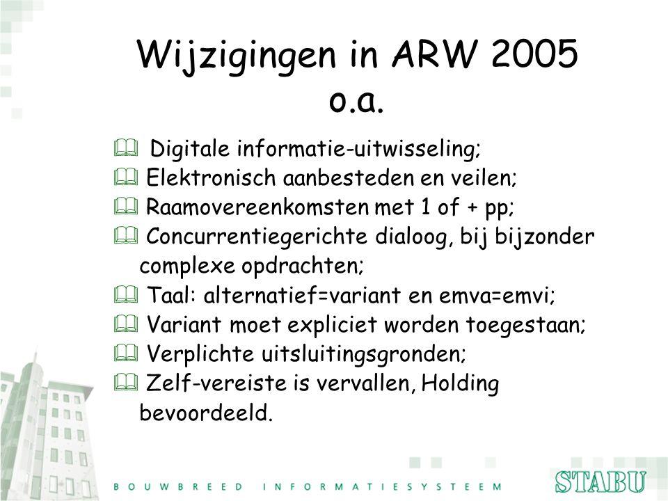 Wijzigingen in ARW 2005 o.a. & Digitale informatie-uitwisseling; & Elektronisch aanbesteden en veilen; & Raamovereenkomsten met 1 of + pp; & Concurren