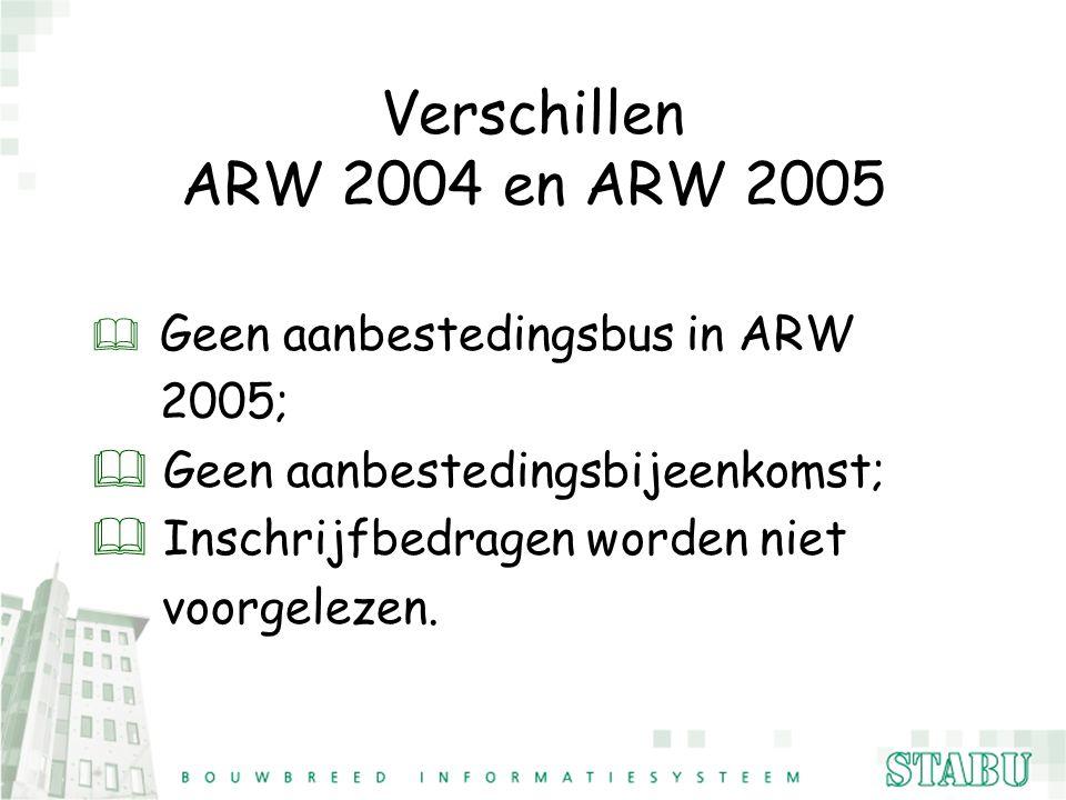 Verschillen ARW 2004 en ARW 2005 & Geen aanbestedingsbus in ARW 2005; & Geen aanbestedingsbijeenkomst; & Inschrijfbedragen worden niet voorgelezen.