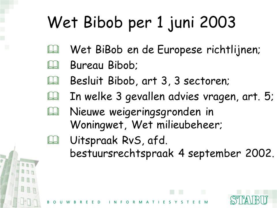 Wet Bibob per 1 juni 2003 &Wet BiBob en de Europese richtlijnen; &Bureau Bibob; &Besluit Bibob, art 3, 3 sectoren; &In welke 3 gevallen advies vragen,