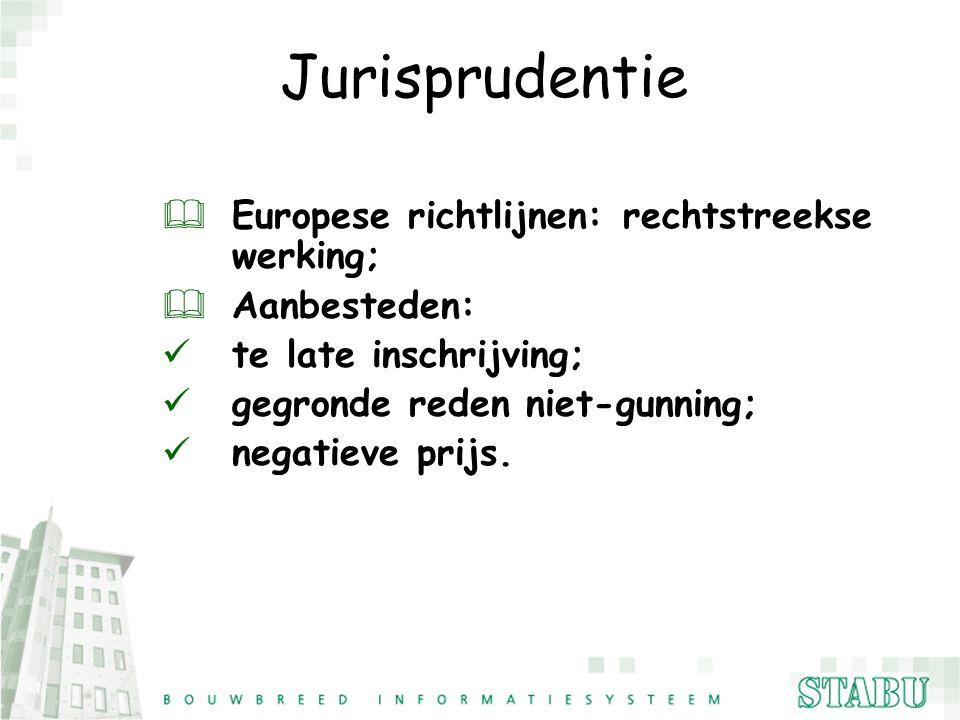 Jurisprudentie & Europese richtlijnen: rechtstreekse werking; & Aanbesteden: te late inschrijving; gegronde reden niet-gunning; negatieve prijs.