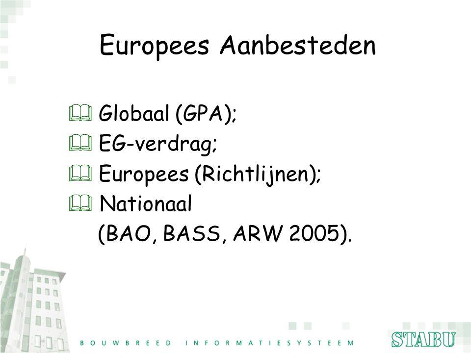 Europees Aanbesteden  Globaal (GPA);  EG-verdrag;  Europees (Richtlijnen); & Nationaal (BAO, BASS, ARW 2005).