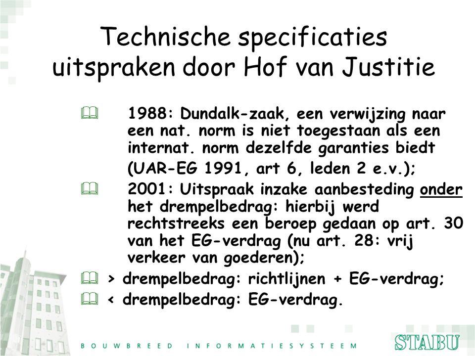 Technische specificaties uitspraken door Hof van Justitie & 1988: Dundalk-zaak, een verwijzing naar een nat. norm is niet toegestaan als een internat.
