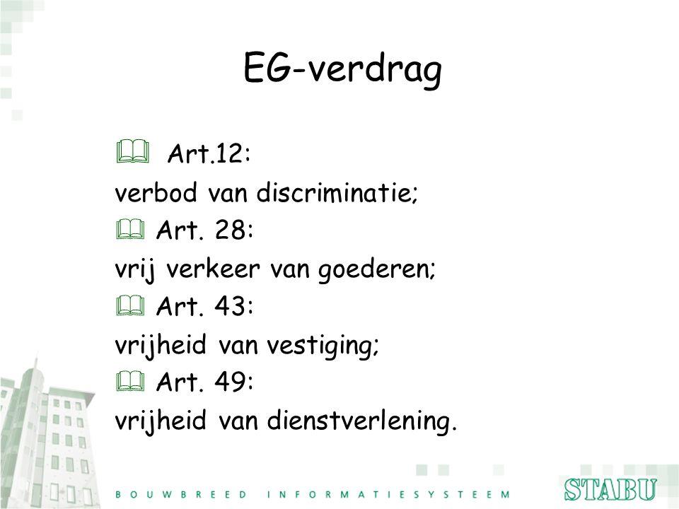 EG-verdrag  Art.12: verbod van discriminatie; & Art. 28: vrij verkeer van goederen; & Art. 43: vrijheid van vestiging; & Art. 49: vrijheid van dienst