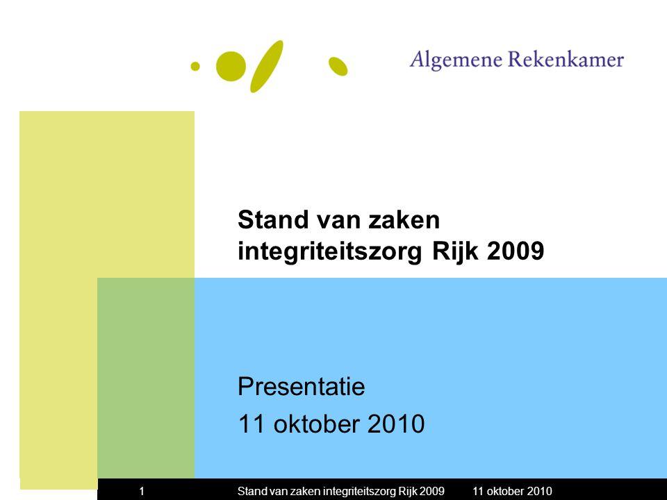 11 oktober 2010Stand van zaken integriteitszorg Rijk 20091 Presentatie 11 oktober 2010