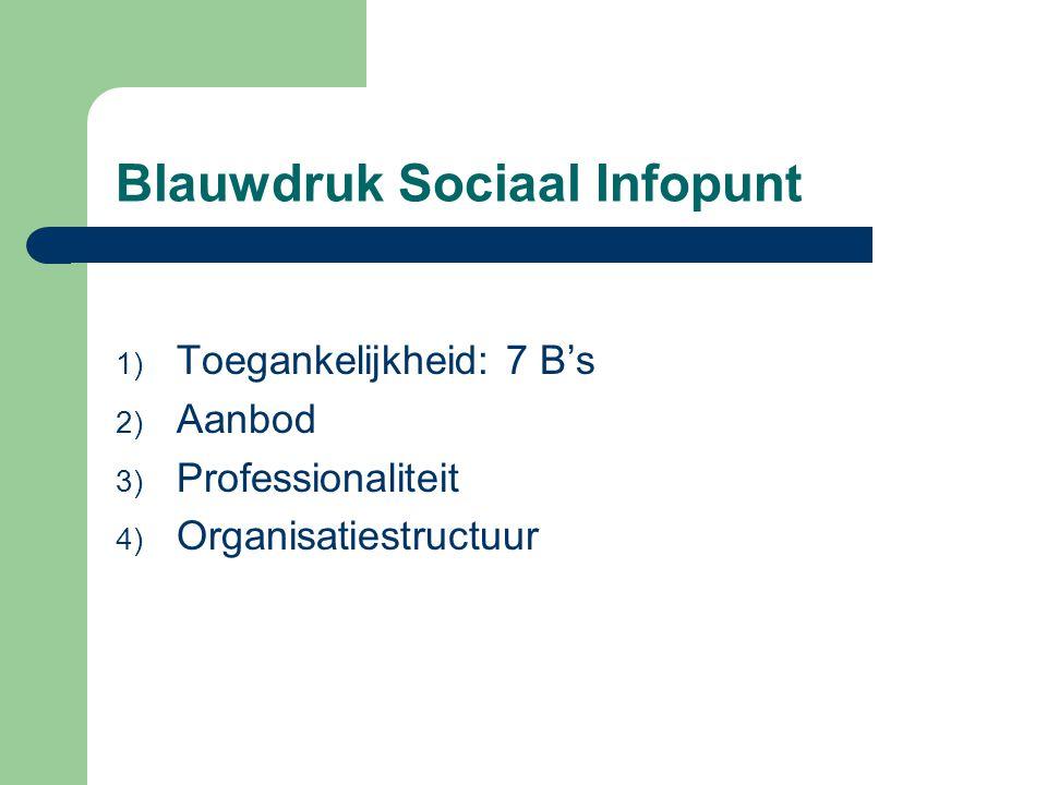 Blauwdruk Sociaal Infopunt 1) Toegankelijkheid: 7 B's 2) Aanbod 3) Professionaliteit 4) Organisatiestructuur
