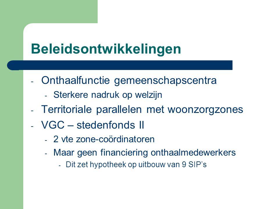 Beleidsontwikkelingen - Onthaalfunctie gemeenschapscentra - Sterkere nadruk op welzijn - Territoriale parallelen met woonzorgzones - VGC – stedenfonds