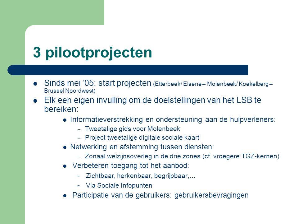 3 pilootprojecten Sinds mei '05: start projecten (Etterbeek/ Elsene – Molenbeek/ Koekelberg – Brussel Noordwest) Elk een eigen invulling om de doelste
