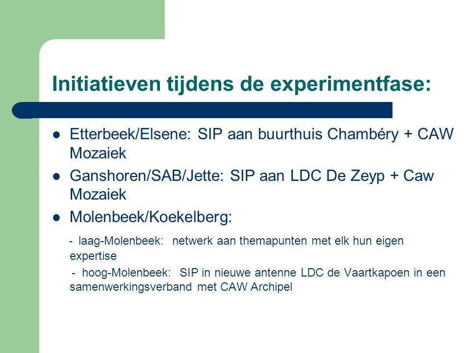 Etterbeek/Elsene: SIP aan buurthuis Chambéry + CAW Mozaiek Ganshoren/SAB/Jette: SIP aan LDC De Zeyp + Caw Mozaiek Molenbeek/Koekelberg: - laag-Molenbe
