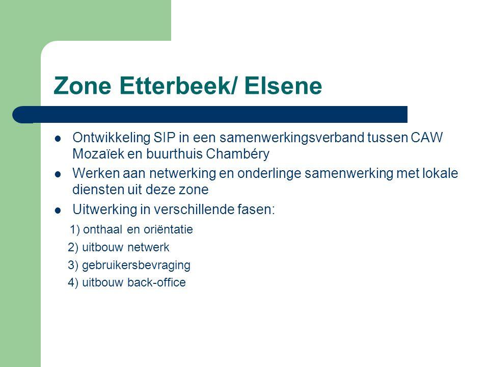Zone Molenbeek/ Koekelberg Laag-Molenbeek: - Lokaal overleg tussen LDC de VK, buurthuis Bonnevie, Caw Archipel Welkom en RIC de Foyer om te komen tot een netwerk van 'themapunten' met elk hun eigen expertise ifv doorverwijzing van hulpvragers Hoog-Molenbeek: - Uitbouw van SIP binnen nieuwe antenne van LDC de VK Voor beide regio's in deze zone: sociale gids met alle organisaties (Ned., Franst.