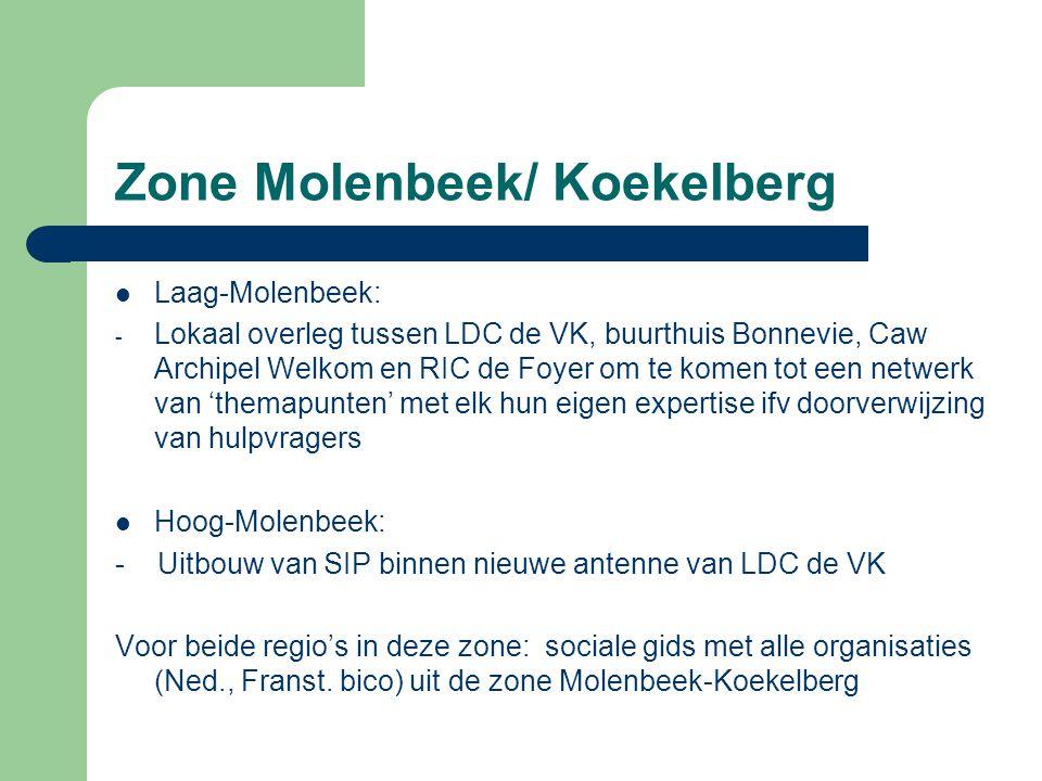 Zone Molenbeek/ Koekelberg Laag-Molenbeek: - Lokaal overleg tussen LDC de VK, buurthuis Bonnevie, Caw Archipel Welkom en RIC de Foyer om te komen tot