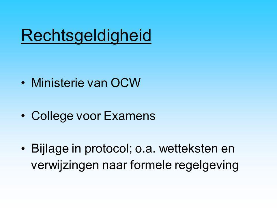 Rechtsgeldigheid Ministerie van OCW College voor Examens Bijlage in protocol; o.a. wetteksten en verwijzingen naar formele regelgeving