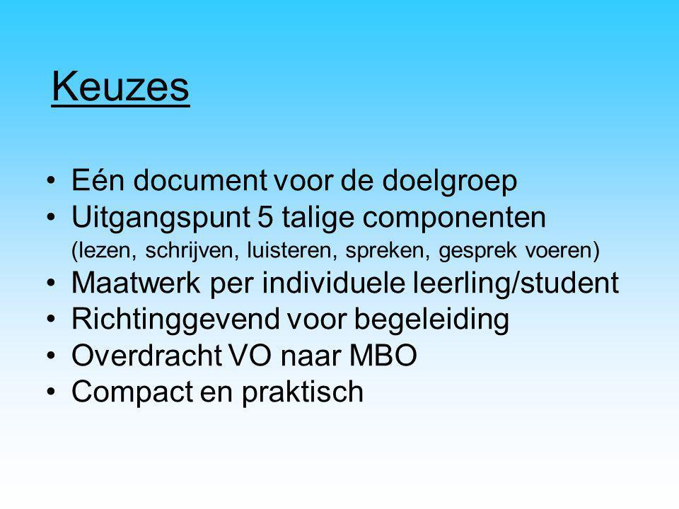 Keuzes Eén document voor de doelgroep Uitgangspunt 5 talige componenten (lezen, schrijven, luisteren, spreken, gesprek voeren) Maatwerk per individuel