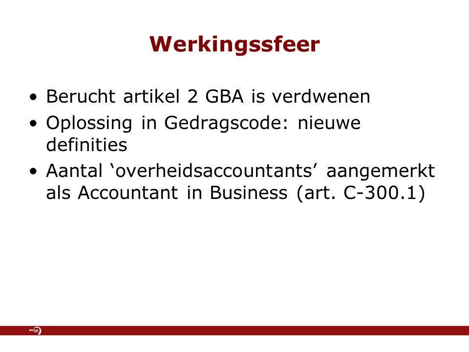 Werkingssfeer Berucht artikel 2 GBA is verdwenen Oplossing in Gedragscode: nieuwe definities Aantal 'overheidsaccountants' aangemerkt als Accountant in Business (art.