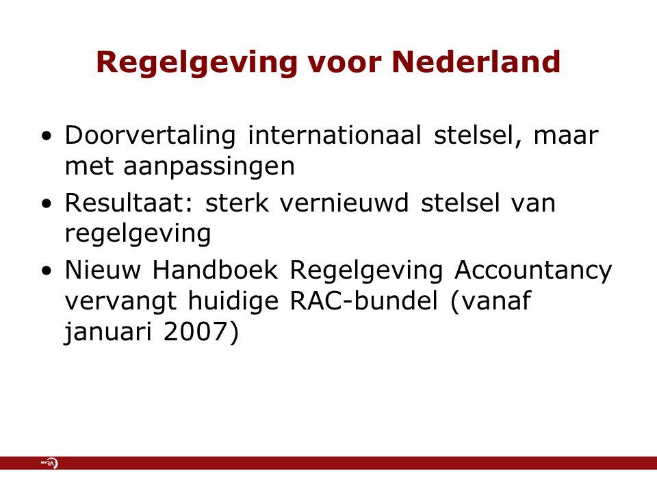Regelgeving voor Nederland Doorvertaling internationaal stelsel, maar met aanpassingen Resultaat: sterk vernieuwd stelsel van regelgeving Nieuw Handbo