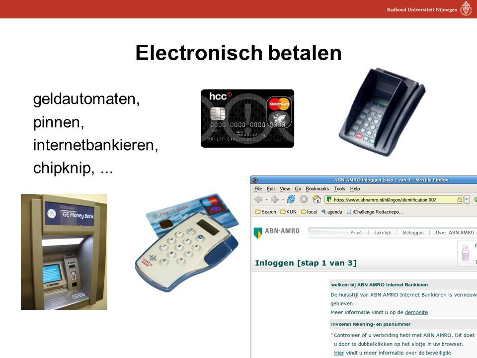14 Electronisch betalen geldautomaten, pinnen, internetbankieren, chipknip,...