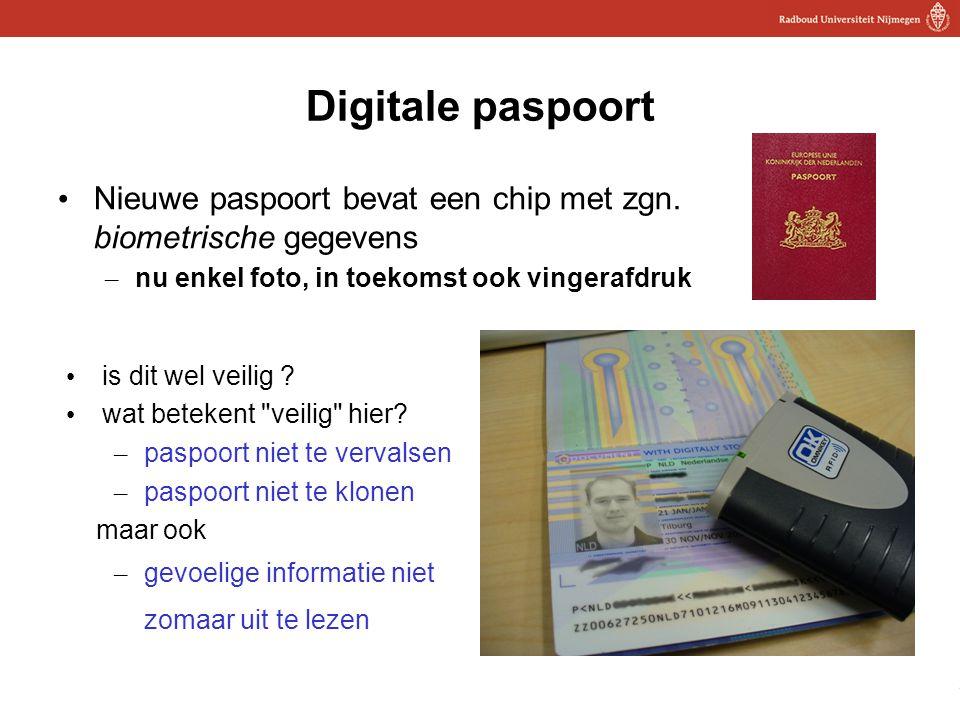 20 Digitale paspoort Nieuwe paspoort bevat een chip met zgn. biometrische gegevens – nu enkel foto, in toekomst ook vingerafdruk is dit wel veilig ? w