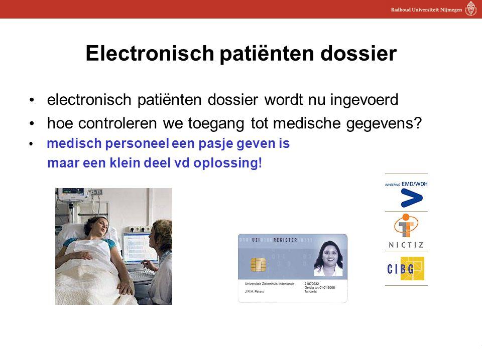 21 Electronisch patiënten dossier electronisch patiënten dossier wordt nu ingevoerd hoe controleren we toegang tot medische gegevens? medisch personee