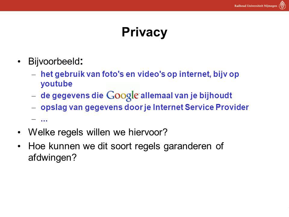 23 Privacy Bijvoorbeeld : – het gebruik van foto's en video's op internet, bijv op youtube – de gegevens die allemaal van je bijhoudt – opslag van geg