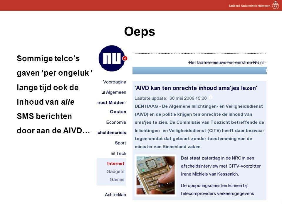 25 Oeps Sommige telco's gaven 'per ongeluk ' lange tijd ook de inhoud van alle SMS berichten door aan de AIVD… 25