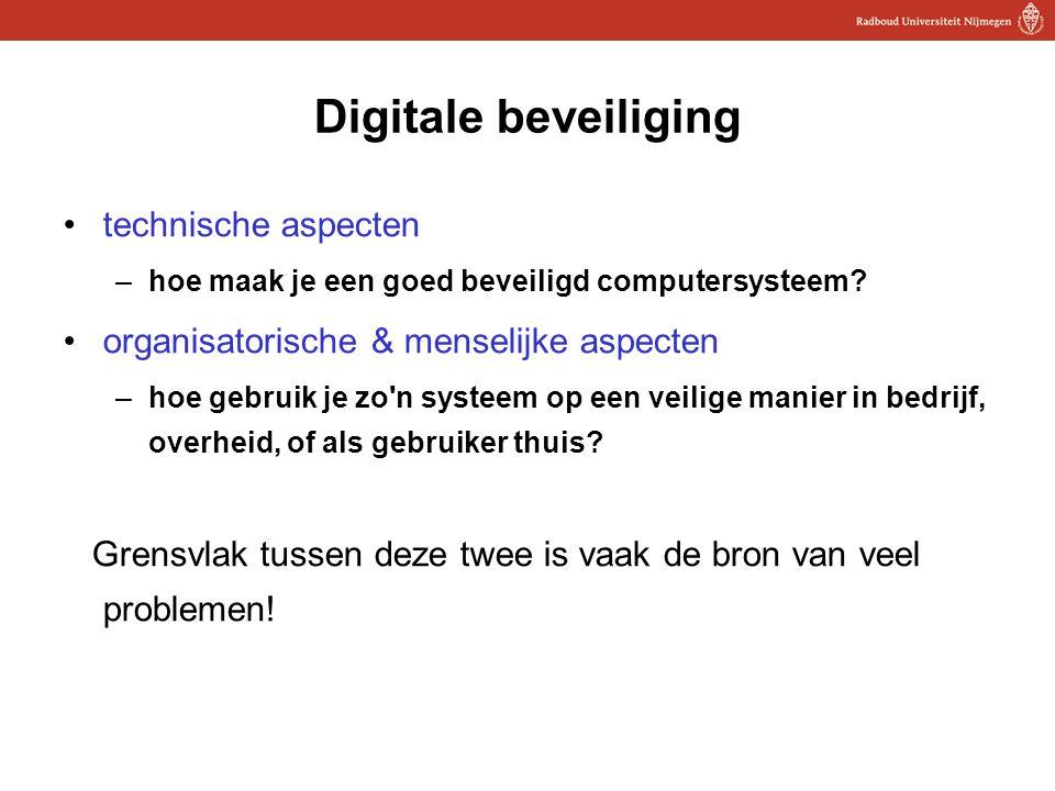7 Digitale beveiliging technische aspecten –hoe maak je een goed beveiligd computersysteem? organisatorische & menselijke aspecten –hoe gebruik je zo'