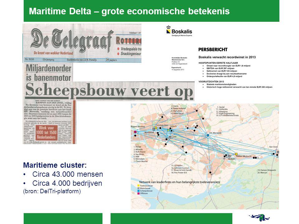 Maritime Delta – grote economische betekenis Maritieme cluster: Circa 43.000 mensen Circa 4.000 bedrijven (bron: DelTri-platform)
