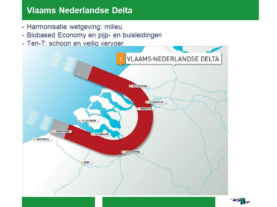 Vlaams Nederlandse Delta -Harmonisatie wetgeving: milieu -Biobased Economy en pijp- en buisleidingen -Ten-T: schoon en veilig vervoer