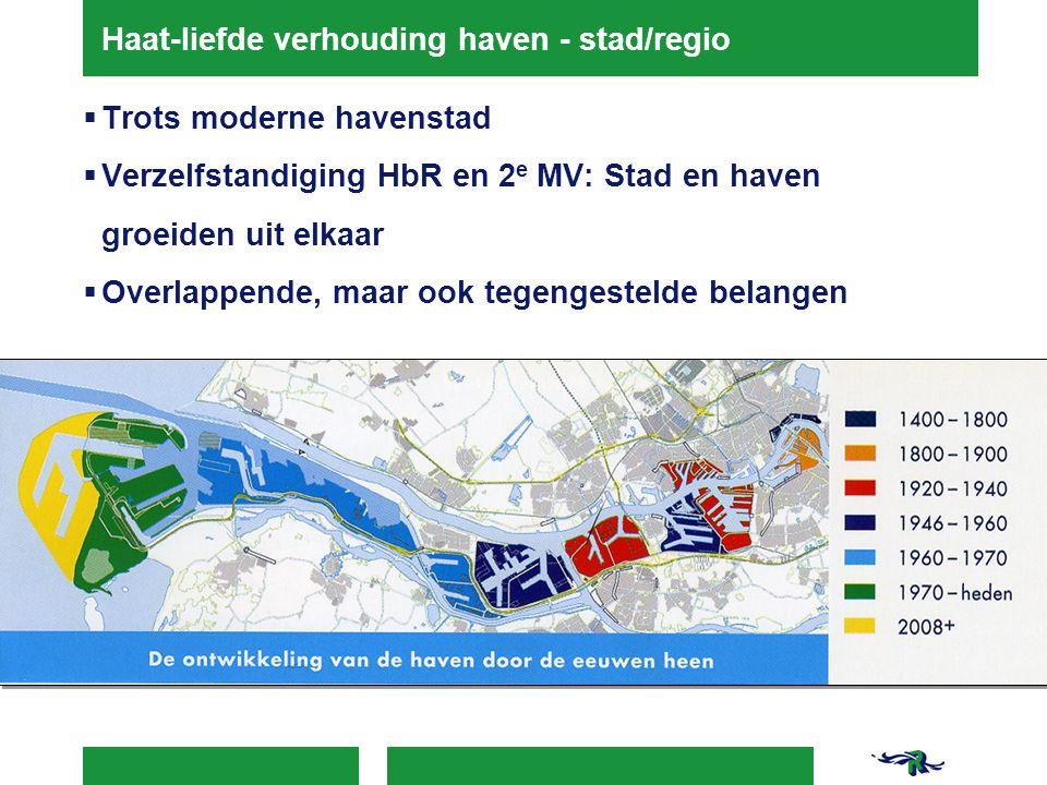 Haat-liefde verhouding haven - stad/regio  Trots moderne havenstad  Verzelfstandiging HbR en 2 e MV: Stad en haven groeiden uit elkaar  Overlappend