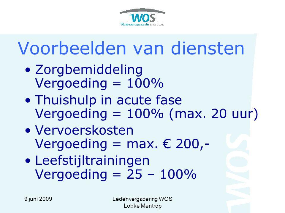 9 juni 2009Ledenvergadering WOS Lobke Mentrop Voorbeelden van diensten Zorgbemiddeling Vergoeding = 100% Thuishulp in acute fase Vergoeding = 100% (ma