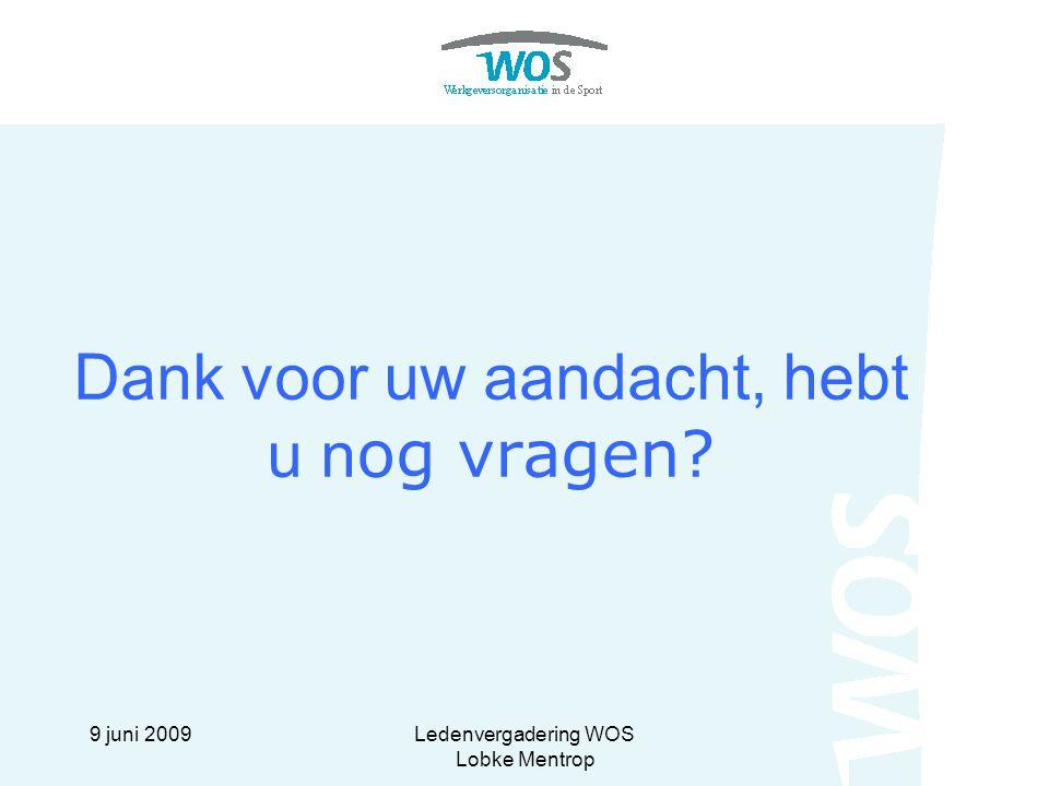 9 juni 2009Ledenvergadering WOS Lobke Mentrop Dank voor uw aandacht, hebt u n og vragen?