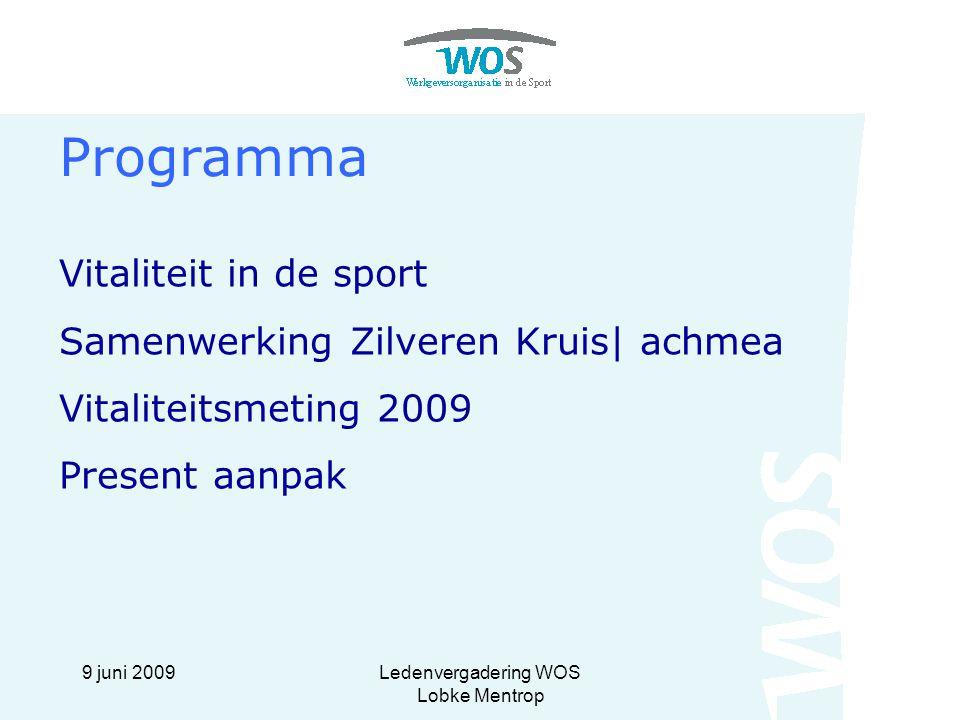 9 juni 2009Ledenvergadering WOS Lobke Mentrop Programma Vitaliteit in de sport Samenwerking Zilveren Kruis| achmea Vitaliteitsmeting 2009 Present aanp