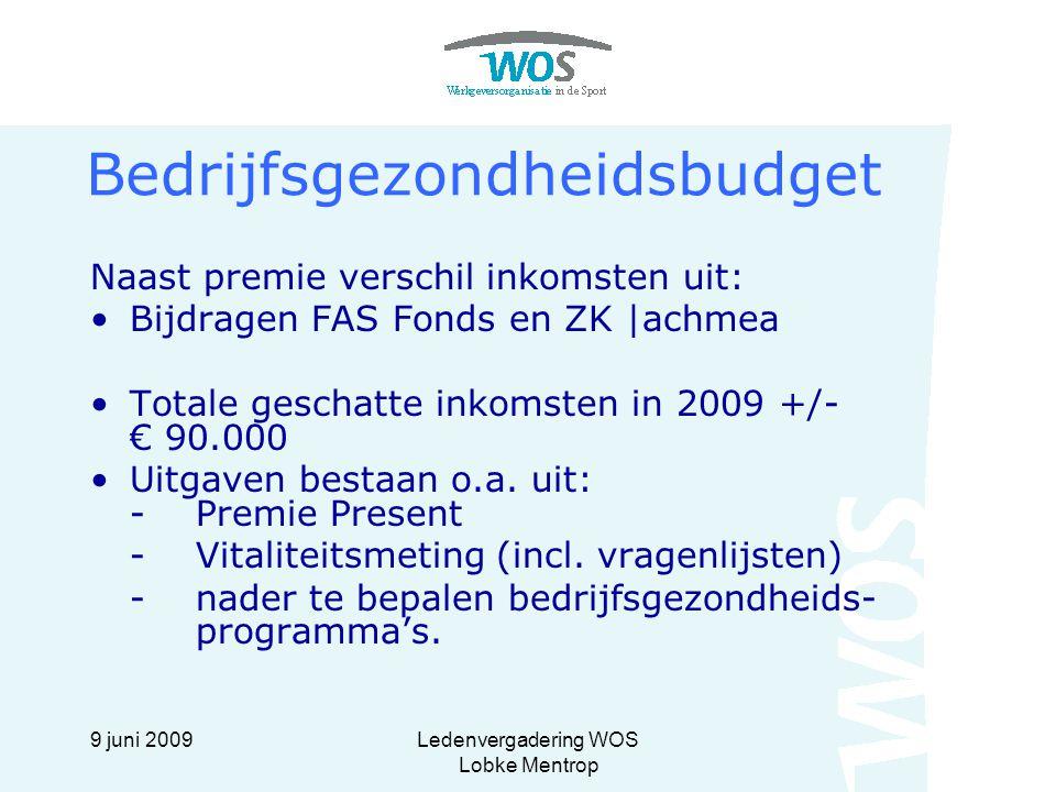 9 juni 2009Ledenvergadering WOS Lobke Mentrop Bedrijfsgezondheidsbudget Naast premie verschil inkomsten uit: Bijdragen FAS Fonds en ZK |achmea Totale