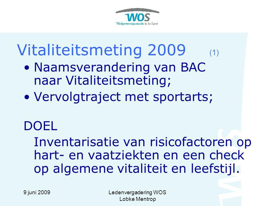9 juni 2009Ledenvergadering WOS Lobke Mentrop Vitaliteitsmeting 2009 (2) Uitnodigingen zijn verstuurd; Meting vindt plaats in 2009 bij SMCP; Drie opties: basis, uitgebreid, extra uitgebreid; Eigen bijdrage oplopend van € 15,= tot € 90,=; Coachingsgesprekken in vervolgtraject zijn gratis; Interventies door combinatie ziektekostenverzekering – Present – eigen bijdrage werknemer; Alleen voor bij ZKA verzekerden.