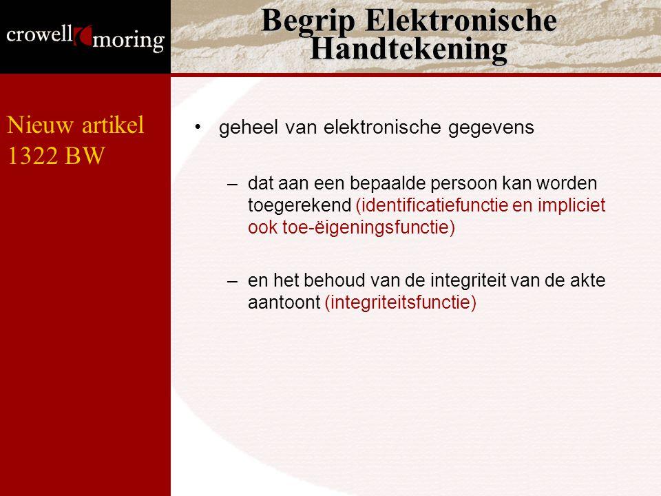 Begrip Elektronische Handtekening geheel van elektronische gegevens –dat aan een bepaalde persoon kan worden toegerekend (identificatiefunctie en impliciet ook toe-ëigeningsfunctie) –en het behoud van de integriteit van de akte aantoont (integriteitsfunctie) Nieuw artikel 1322 BW