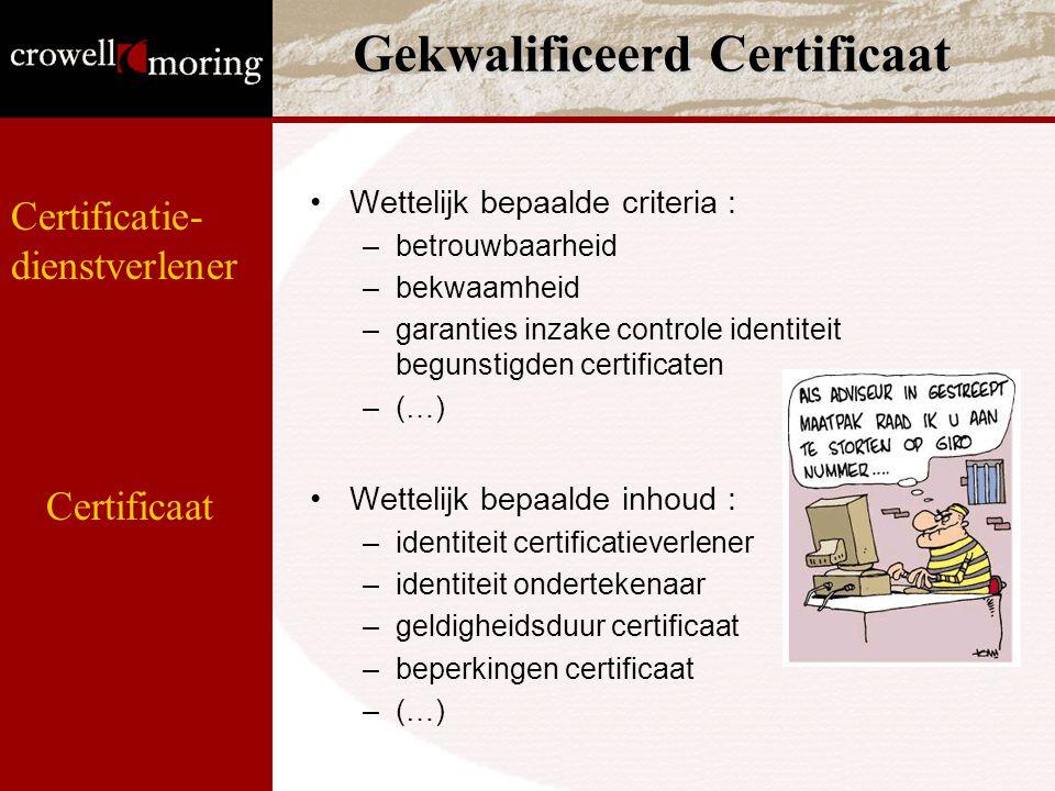 Gekwalificeerd Certificaat Wettelijk bepaalde criteria : –betrouwbaarheid –bekwaamheid –garanties inzake controle identiteit begunstigden certificaten –(…) Wettelijk bepaalde inhoud : –identiteit certificatieverlener –identiteit ondertekenaar –geldigheidsduur certificaat –beperkingen certificaat –(…) Certificaat Certificatie- dienstverlener