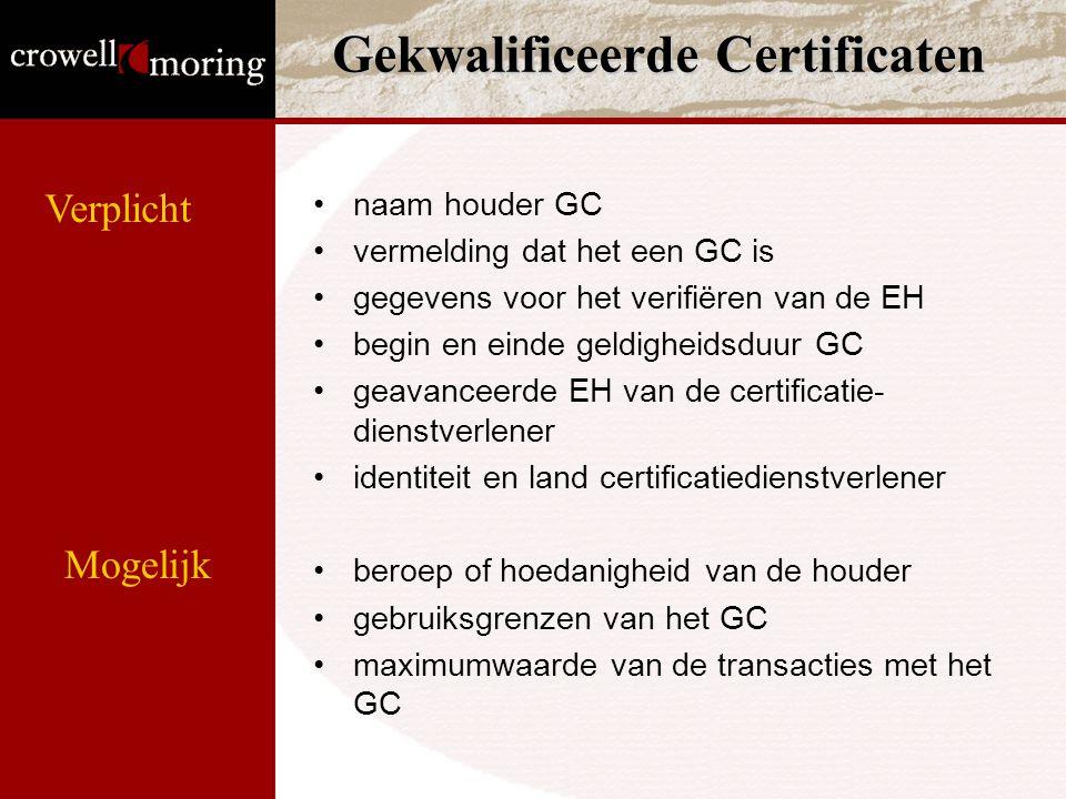 Gekwalificeerde Certificaten naam houder GC vermelding dat het een GC is gegevens voor het verifiëren van de EH begin en einde geldigheidsduur GC geavanceerde EH van de certificatie- dienstverlener identiteit en land certificatiedienstverlener beroep of hoedanigheid van de houder gebruiksgrenzen van het GC maximumwaarde van de transacties met het GC Verplicht Mogelijk