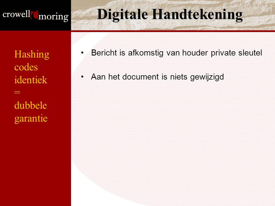 Hashing codes identiek = dubbele garantie Digitale Handtekening Bericht is afkomstig van houder private sleutel Aan het document is niets gewijzigd