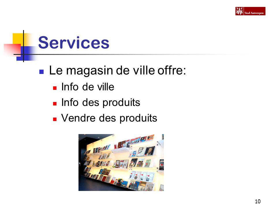 10 Services Le magasin de ville offre: Info de ville Info des produits Vendre des produits